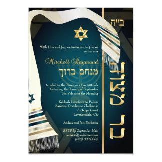 PixDezines tallit Bar Mitzvah/dunkles aquamarines 12,7 X 17,8 Cm Einladungskarte