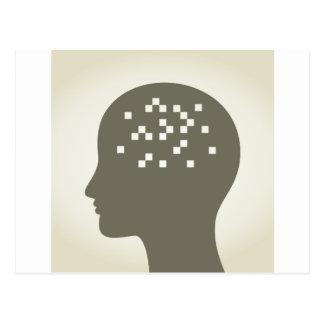 Pixel in einem Kopf Postkarte