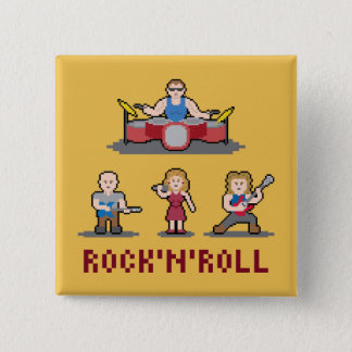 Pixel-Rock-and-Roll-Band-Knopf Quadratischer Button 5,1 Cm