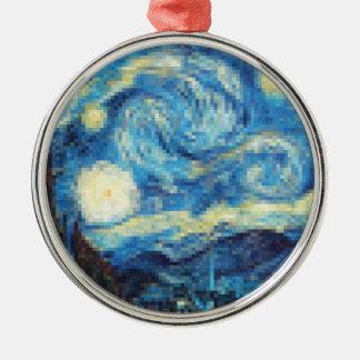 Pixelated sternenklare Nacht durch Van Gogh Silbernes Ornament
