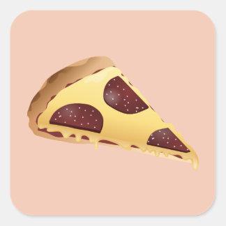 Pizza für die Leute Quadratischer Aufkleber