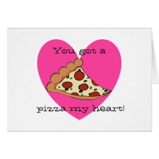 Pizza-Herz-Valentinsgrußkarte Karte