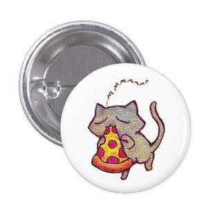 Pizza-Katze! Runder Button 2,5 Cm