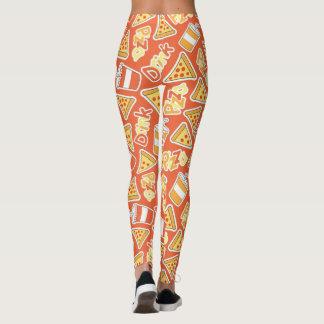 Pizza-und Getränk-Muster Leggings