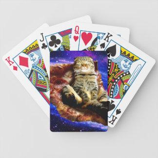 Pizzakatze - verrückte Katze - Katzen im Raum Bicycle Spielkarten