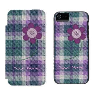 Plaid avec la fleur coque-portefeuille iPhone 5 incipio watson™