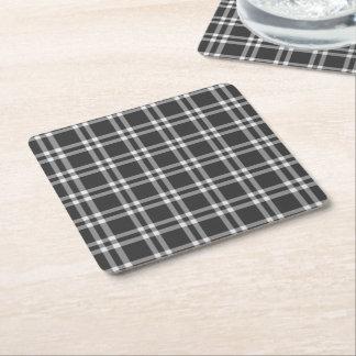 Plaid noir dessous-de-verre carré en papier