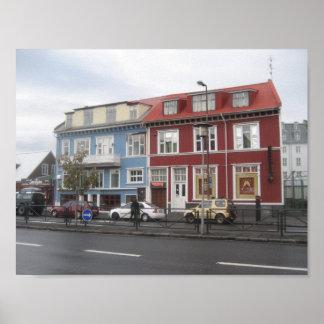 Plakat der bunten Häuser in Reykjavik (Island)