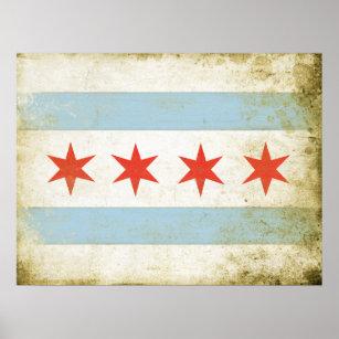 Plakat mit beunruhigtem Chicago-Flaggen-Druck