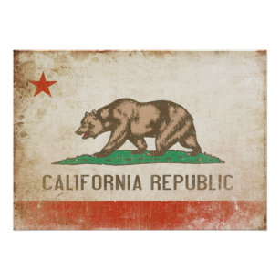 Plakat mit beunruhigter Kalifornien-Flagge