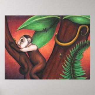 Plakat mit Kunst von kleinem Affen - 20 x 24