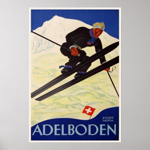 Plakat mit Vintagem Ski-Erholungsort-Druck
