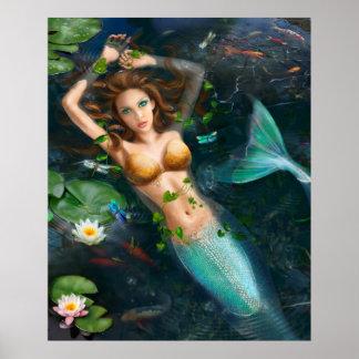 Plakat-Schöne Meerjungfrau im See mit Lilien Poster
