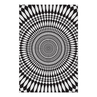 Plakat: Schwindel: Schwarzes u. weißes abstraktes Poster