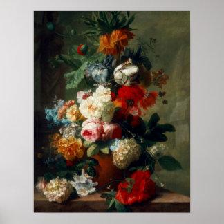 Plakat-Vintage Kunst-noch Leben-Blumen Poster