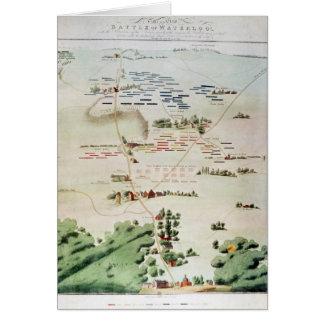 Plan und Ansicht des Kampfes von Waterloo Karte
