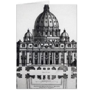 Plan von St Peter, Rom, vorbei graviert Karte