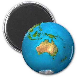 Planeten-Erde - Australien - bunte Kugel. 3d Runder Magnet 5,7 Cm