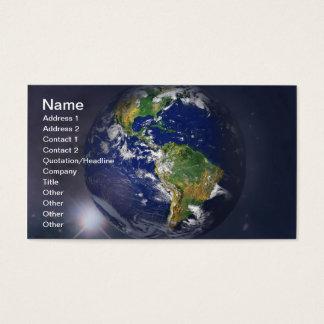 Planetenerde, die über die Sonne im Raum steigt Visitenkarte