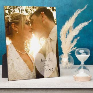 Plaque de photo de mariage avec le coeur et la