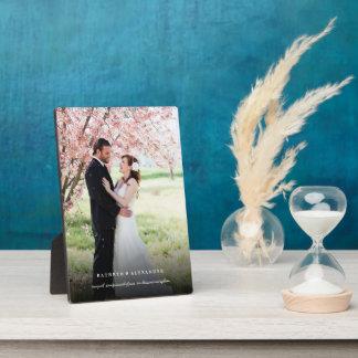 Plaque Photo Chevalet noir simple classique de photo de mariage