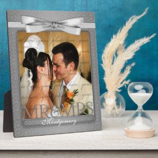 Plaque Photo M. 8x10 et Mme Wedding Photo en damassé argentée
