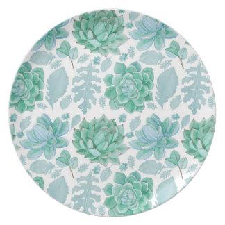 Plastikplatte des saftigen Musters, botanisches Essteller