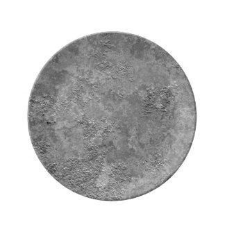 Plat cru gris de Moquerie-Texture de béton/ciment Assiette En Porcelaine
