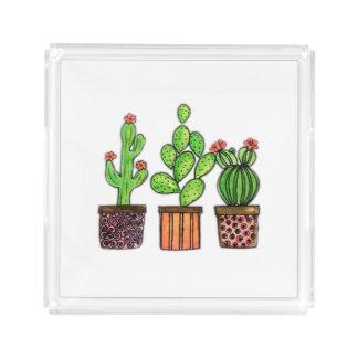 Plateau En Acrylique Cactus mignon d'aquarelle dans des pots
