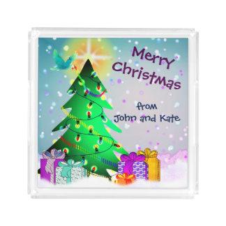 Plateau En Acrylique Noël nommé fait sur commande de nom ou de couple