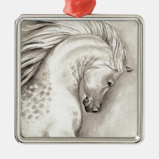 Platinaraber Quadratisches Silberfarbenes Ornament