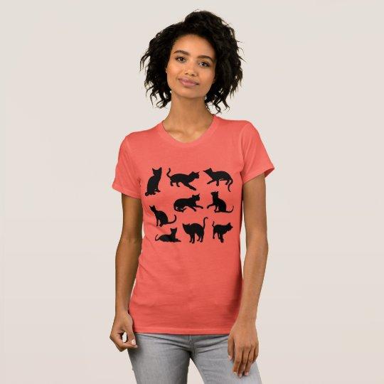 Playful Katzen-Silhouette T-Shirt