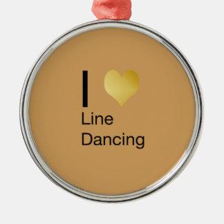 Playfully elegante i-Herz-Linie Tanzen Rundes Silberfarbenes Ornament