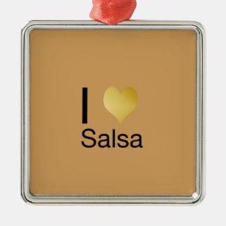 Playfully elegante i-Herz-Salsa Quadratisches Silberfarbenes Ornament