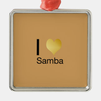 Playfully elegante i-Herz-Samba Quadratisches Silberfarbenes Ornament