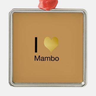 Playfully eleganter i-Herz-Mambo Quadratisches Silberfarbenes Ornament