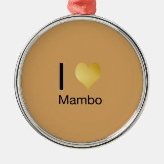 Playfully eleganter i-Herz-Mambo Rundes Silberfarbenes Ornament