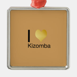 Playfully elegantes i-Herz Kizomba Quadratisches Silberfarbenes Ornament