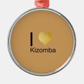 Playfully elegantes i-Herz Kizomba Rundes Silberfarbenes Ornament