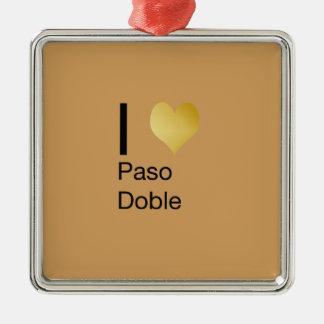 Playfully elegantes i-Herz Paso Doble Quadratisches Silberfarbenes Ornament