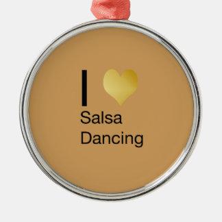 Playfully elegantes i-Herz-Salsa-Tanzen Rundes Silberfarbenes Ornament