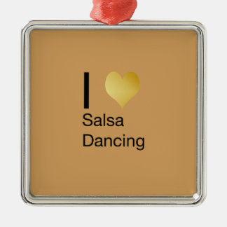 Playfully elegantes i-Herz-Salsa-Tanzen Silbernes Ornament
