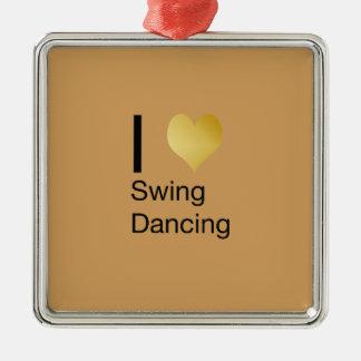 Playfully elegantes i-Herz-Schwingen-Tanzen Quadratisches Silberfarbenes Ornament