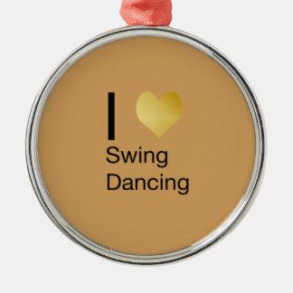 Playfully elegantes i-Herz-Schwingen-Tanzen Rundes Silberfarbenes Ornament