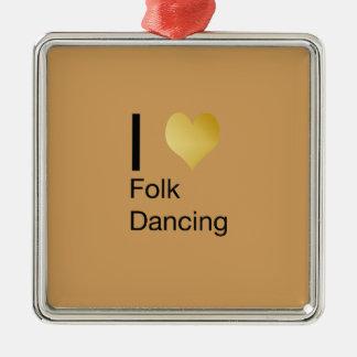 Playfully elegantes i-Herz-Volkstanzen Silbernes Ornament