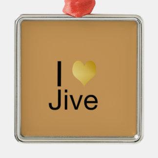 Playfully Jive elegantes i-Herz Quadratisches Silberfarbenes Ornament