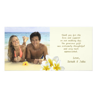 Plumeria-Blumen-Strand-Hochzeits-Foto danken Ihnen Karte