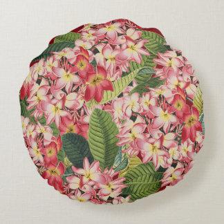Plumeria-Blumen-tropisches rundes mit Blumenkissen Rundes Kissen