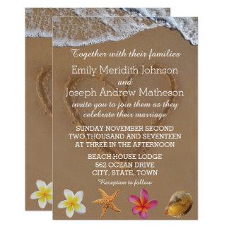 Plumeriastarfish-Muschel-Hochzeits-Einladungen Karte