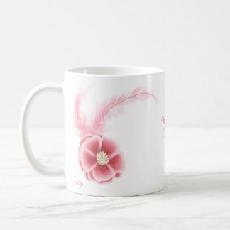 Plumes et fleurs mug blanc
